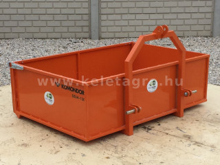 Transport box 130 cm, for Japanese compact tractors, drop down tailboard, Komondor SZLH-130 (1)