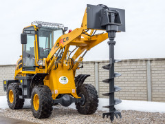 Force wheel loader post hole digger attachment - Implements -