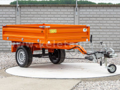 Trailer with overrun brake, tipping, 3 directions dumping, for Japanese compact tractors, Komondor SPK-1500/RF - Implements -